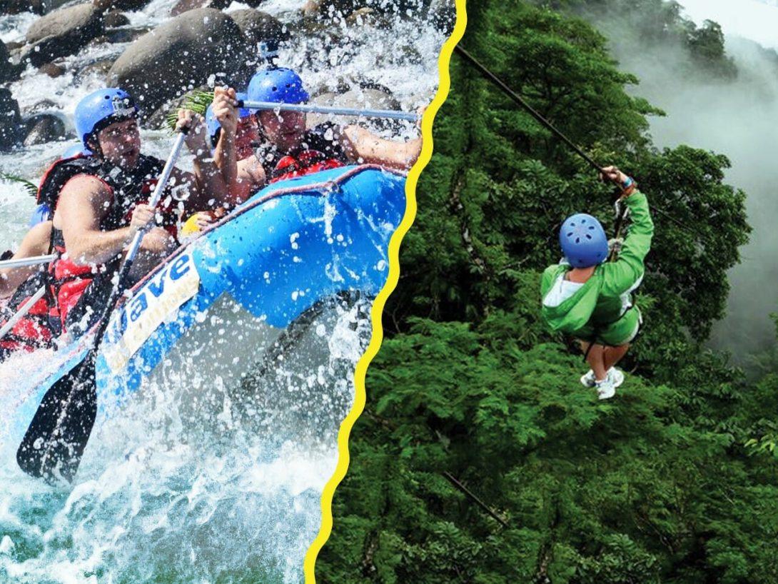 Este combo de rafting y canopy está diseñado para emociones extremas